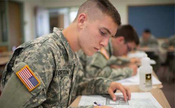 Photo of ROTC students in military studies class