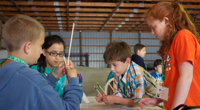 Picture of students building towers during Space Day
