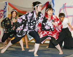 Photo of Japanese students performing in Night of Nations on SUNY Plattsburgh campus