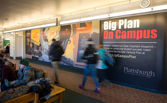 Photo of the new campus plan graphic in Flynt Commons