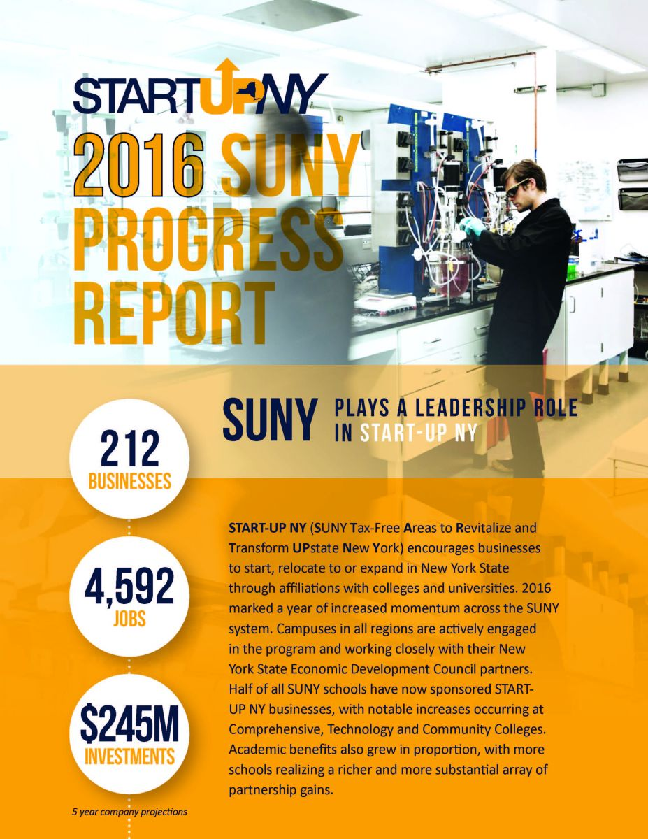 Cover of 2016 SUNY Progress Report