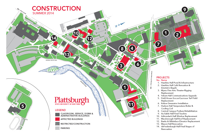 Map of SUNY Plattsburgh Construction for Summer 2014