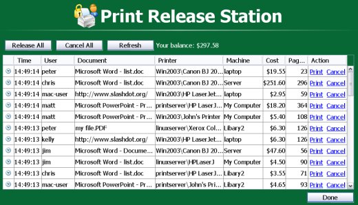 Printing a job from the Print Release Station