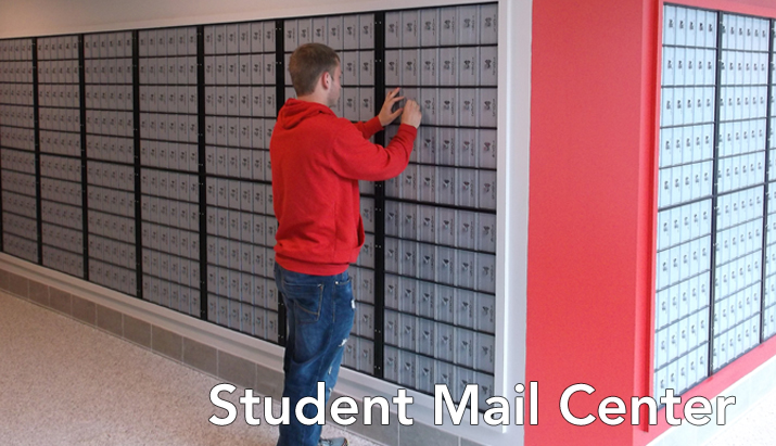 Photo of student in the SUNY Plattsburgh Student Mail Center.