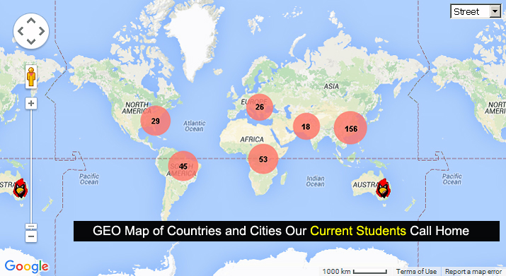 Click on this image to access Google GEO Map showing currently enrolled international SUNY Plattsburgh students