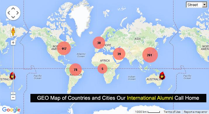 Click on this image to access Google GEO Map showing international SUNY Plattsburgh alumni
