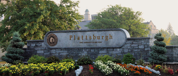 View of the SUNY Plattsburgh sign at Broad St. and Draper St.