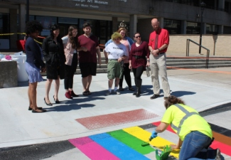 Area's First Rainbow Crosswalk Painted on SUNY Plattsburgh Campus